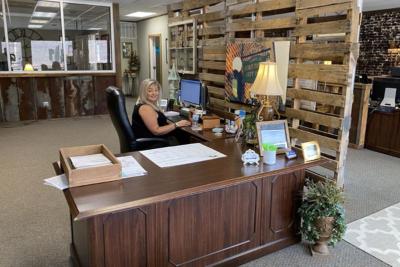 Beth's desk Somerville office photo